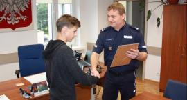 Staś Siekierka, 14-latek, który pomógł ująć włamywacza, nagrodzony przez policję
